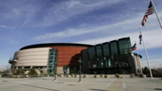 **FILE** The Pepsi Center, the home of the Denver Nuggets and the Colorado Avalanche, pictured in Denver, on Monday, Dec. 11, 2206. The Pepsi Center would be the main site used for the Democratic Convention in 2008. The 2008 Democratic presidential convention will be held in Denver, the Democratic National Committee announced Thursday, Jan. 11, 2007. (AP Photo/Ed Andrieski, FILE)