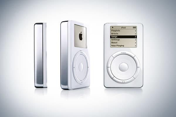: Oct. 2001: 6.5 ouncesThe first iPod had a scroll wheel that physically moved when navigating through song lists. The play, next and menu buttons were placed in a circle around the wheel. A revision was released in 2002 that offered more memory space.