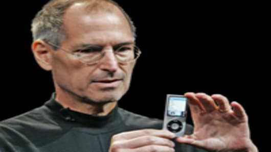 Apple CEO Steve Jobs introduces the new iPod Nano in San Francisco, Tuesday, Sept. 9, 2008.