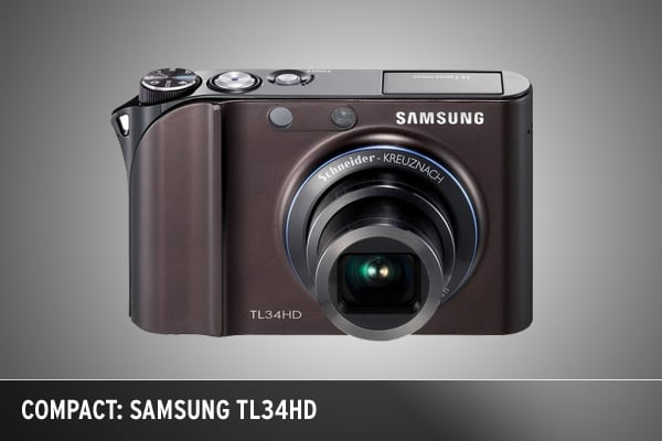 Samsung considers its new TL34HD its flagship point-and-shoot camera -- and for good reason. At 14.7 megapixels the pocket-sized device also has a huge 3-inch LCD screen, which takes up most of the back of the camera. And because this is a touch screen device, there are only a handful of buttons. Other features include a Blink Detection function that snaps another three exposures in rapid succession if it analyzes a person has blinked. The camera also includes an HD movie mode that captures 720p