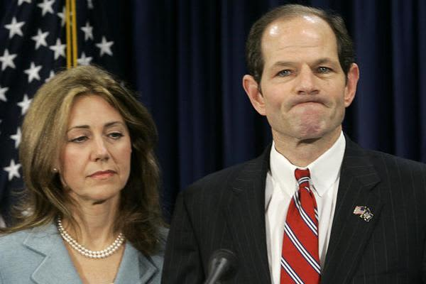 """New York Governor Eliot Spitzer was forced to resign after being identified in an affidavit as """"Client-9"""" for the Emperors Club VIP, a high-end prostitution ring of which Spitzer allegedly paid thousands of dollars to have sex with a prostitute named """"Kristen"""" aka Ashley Dupre. He did not face criminal charges, however."""