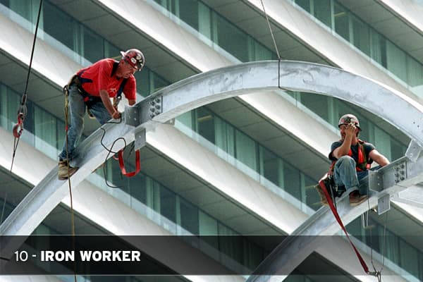 This job requires you to work with hot metal, usually at great heights and for little reward. The Bureau of Labor Statistics lists the median hourly income of Iron Workers to be under $20. Work can be irregular at times, because of bad weather, the short-term nature of construction jobs and economic downturns. Beware: This job category has the fourth-highest fatality rate in the country, at 61.0 deaths per 100,000 workers.
