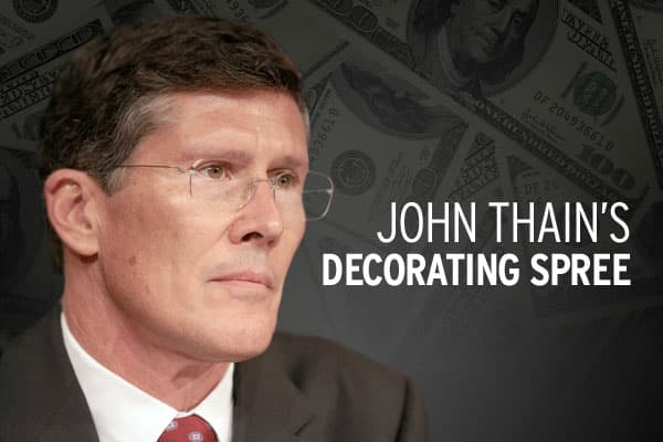 When John Thain became Merrill Lynch's CEO in early 2008, he hired Michael S. Smith Design to revamp his office suite, spending approximately $1.22 million according to documents. Smith also is Michelle Obama's interior designer at the White House. By comparison, the White House is paying him just $100,000.The following are prices of what Thain paid for the individual items, but we've also provided images of some penny-saving alternatives that more reasonable spenders may have chosen for their o
