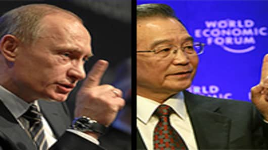 Vladimir Putin, Prime Minister of the Russian Federation and Wen Jiabao, Premier of the People's Republic of China