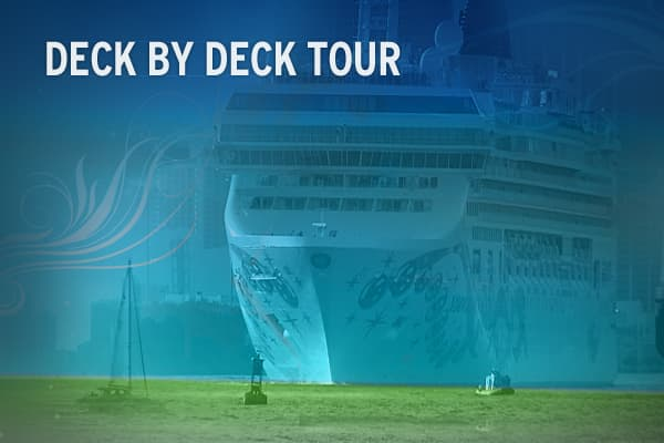 "Tour the 15-story Norwegian Pearl from top to bottom, without having to walk down the stairs.  Visit the """" website."