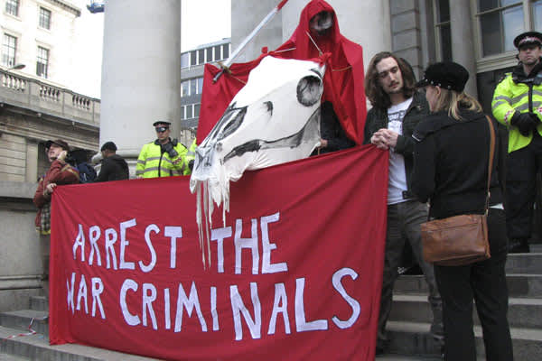 Anti-war protesters were one the four groups that converged on the Bank of England at midday, calling for an end to Britain's involvement in Iraq and Afghanistan.