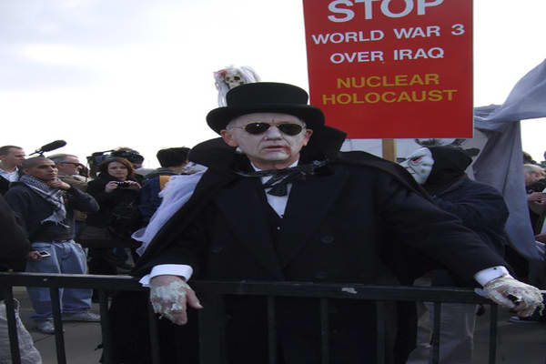 Ghoulish costumers were prevalent as protestors tried to call attention to what they call atrocities committed by Western governments. Pictured is Chris Knight, professor of anthropology at the University of East London.