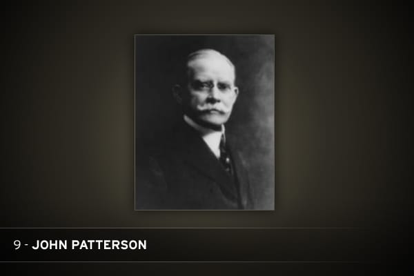 "The tyrannical Patterson liked to fire and then rehire executives to break their self-esteem. He banned ""harmful"" foods—including bread and butter—from company premises and had employees weighed and measured every six months. In 1913, he and 29 NCR officials were convicted of various antitrust violations, including the use of ""knockout men"" to intimidate store owners and keep them from buying from NCR's competitors. (The conviction was overturned a year later.) Patterson may be best known for fi"