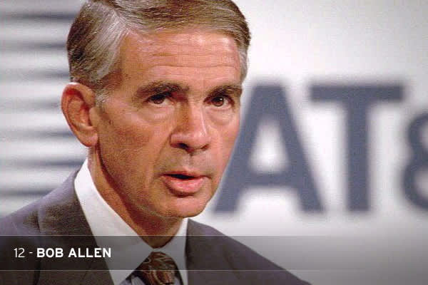 "Bob Allen misjudged where the telecom industry was going. He forced a disastrous merger with computer company NCR Corp. and allowed AT&T to wither under his lack of strategic direction. In 1997, after AT&T lost more than $12 billion in a few months, Time called the company a ""monolithic screwup.""THE STAT: To stem the company's losses on his watch, Allen had to lay off 50,000 AT&T employees."