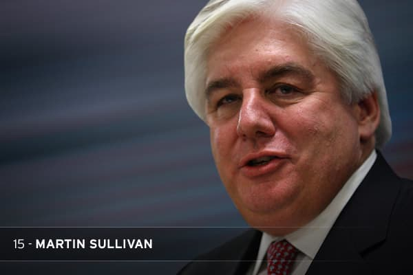 "Get out your tomatoes. This is the guy who approved those ""retention"" bonuses that AIG tried to pay after sucking up nearly $200 billion from U.S. taxpayers. Sullivan was ousted before the bailout, but his inaction as CEO helped create AIG's mess. He brushed off the firm's subprime exposure as ""manageable"" while writedowns mounted and the firm recorded its two largest-ever quarterly losses.THE STAT: Sullivan's severance package was $25.4 million, including $322,000 for private use of corporate a"
