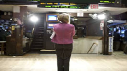 A market reporter at NYSE's opening bell.