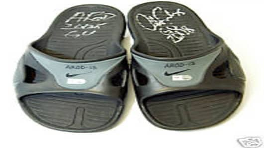 Alex Rodriguez signed used shower shoes