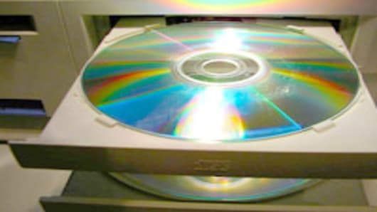 DVDs in a computer's disc drives.