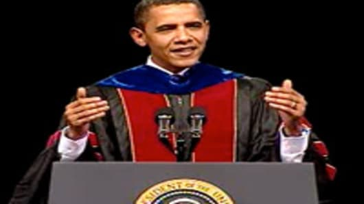 Barack Obama, as US President, speaks at the Arizona State University commencement ceremony.