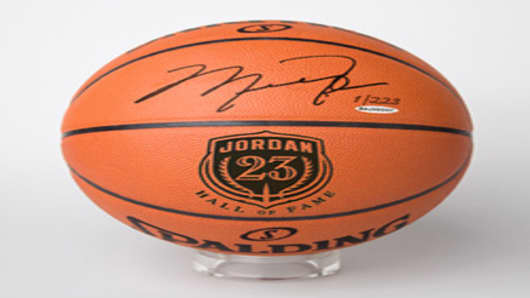 Basketball signed by Michael Jordan