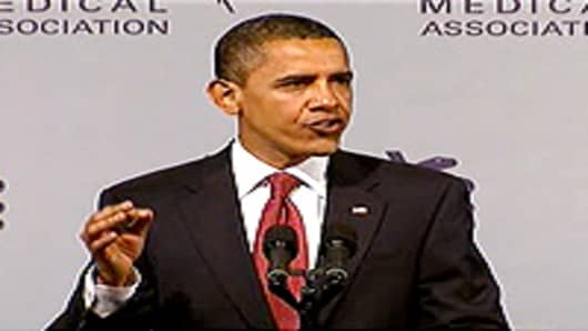 President Barack Obama addressing the American MEdical Association.