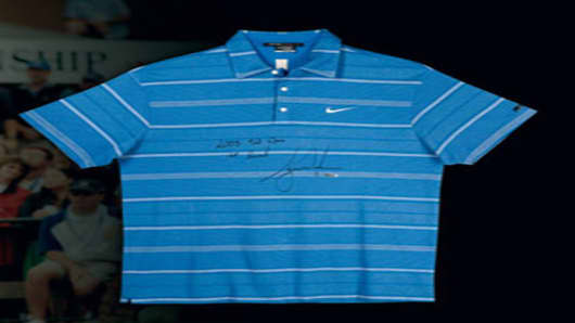 Tiger Woods Autographed and Inscribed 2008 U.S. Open Tournament-Worn Polo Shirt (Round 1)
