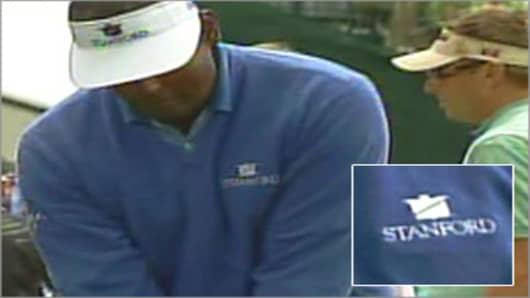 Vijay Singh wearing stanford shirt.
