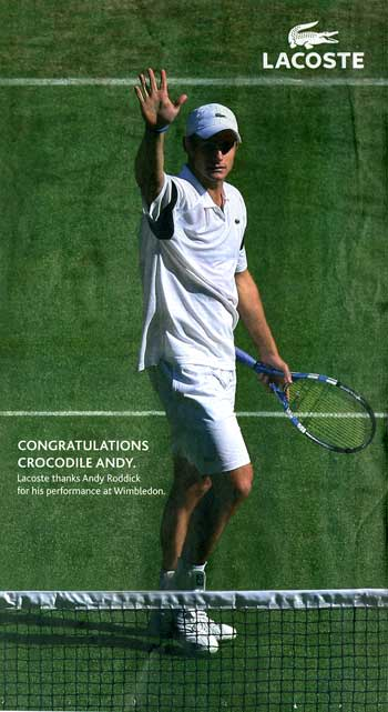 7d375201c6571 Lacoste Runs Full Page Ad With Roddick Loss