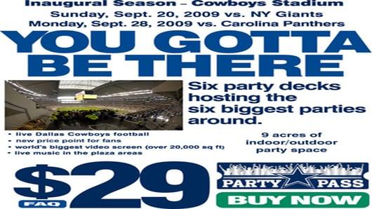 Dallas Cowboys Party Pass