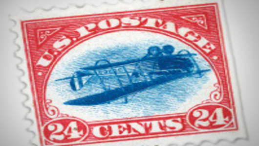 1918 Twenty Four Cent Inverted Jenny, valued at about $500,000