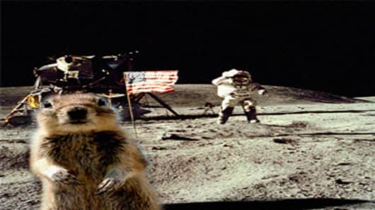 Crasher Squirrel on the moon
