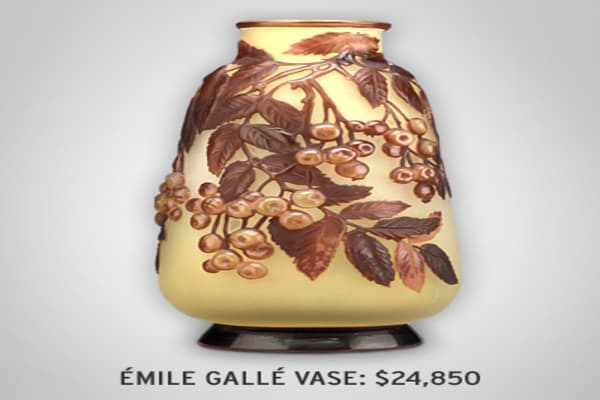 : $24,850 This glass vase, 11 ¼ inches high, was made around 1900.