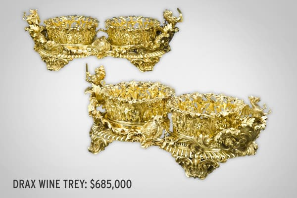 : $685,000 These silver gilt wine coaster treys were created by Edward Bernard & Sons of London in 1829.