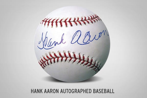 : $349.99 This baseball is signed by 24-time MLB All-Star Hank Aaron.