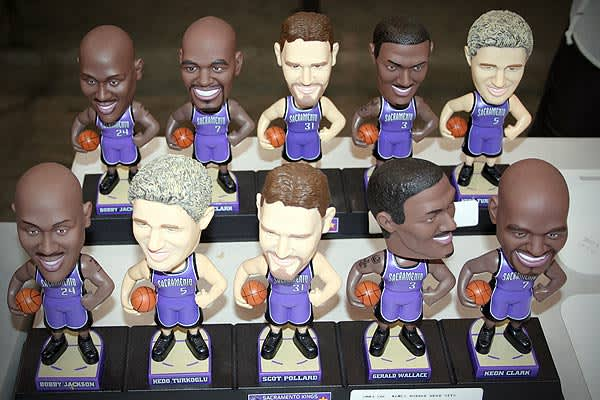 "Only in California, and right from the state's capitol. On sale are  ten  Sacremento Kings bobble heads, all listed in ""fair condition."" There are also other Kings items available, including a ""Kings Avenue"" sign, Kings flag, poster and towel."
