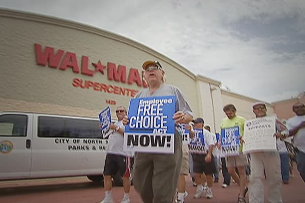 Walmart is the nation's largest employer with 1.4 million workers in the U.S. and up to 30-thousand new hires annually. But the company's low-cost operating model may be threatened by proposed legislation – The Employee Free Choice Act -- that would make it easier for unions to organize. A store in Miami may become the first unionized Walmart in the U.S.
