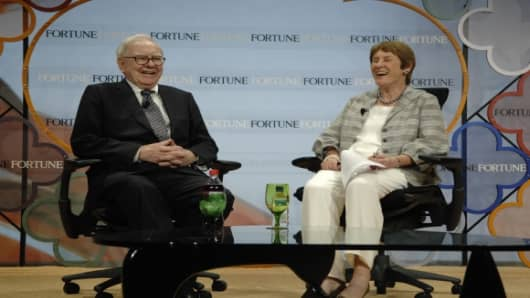 Warren Buffett and Fortune's Carol Loomis at the magazine's Most Powerful Women Summit in Carlsbad, California