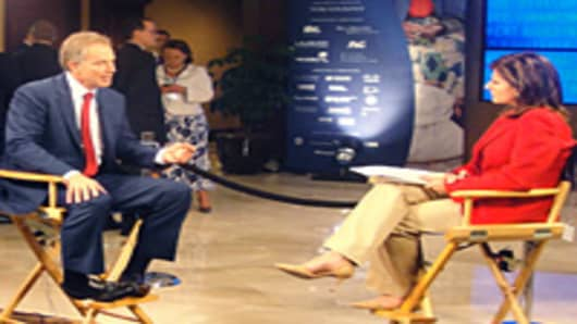 Maria Bartiromo interviewing Tony Blair