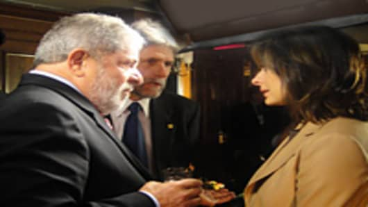 Maria Bartiromo interviewing Brazilian President Luiz Inacio Lula da Silva