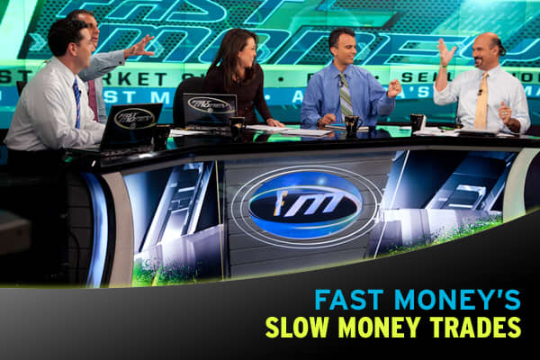 We know it seems like the Fast Money moves at the speed of light. So we thought you'd appreciate it if we slowed things down a bit.Following you'll find Fast Money's Slow Money trades – stocks the traders would buy and hold for the next five years!