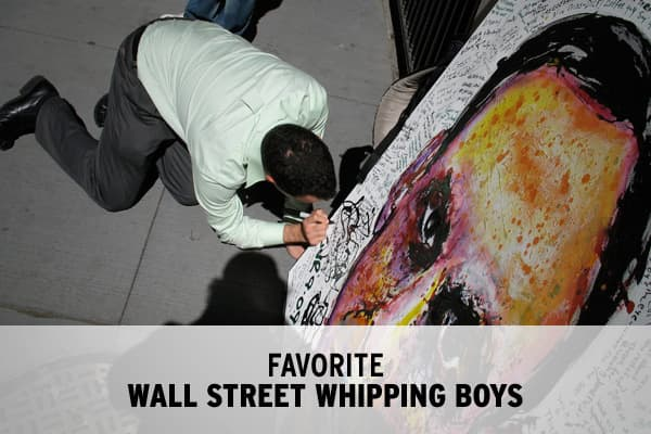 Throughout the financial crisis, New York-based artist Geoffrey Raymond has been hard at work creating portraits of controversial Wall Street figures. When a painting is completed, Raymond exhibits them in front of Manhattan's key financial venues, inviting people – with pen in hand - to write their thoughts directly onto the canvas.  Over the past year, Raymond's paintings have offered a venue for the public to vent their anger.We asked Raymond for a selection of his paintings for which he has