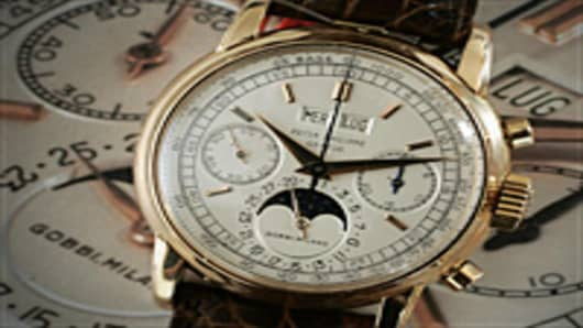A rare Patek Philippe 18 karat pink gold watch is displayed 11 May 2007 during a preview in Geneva.