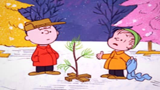 "Charlie Brown and Linus in a scene from the TV special ""A Charlie Brown Christmas"""