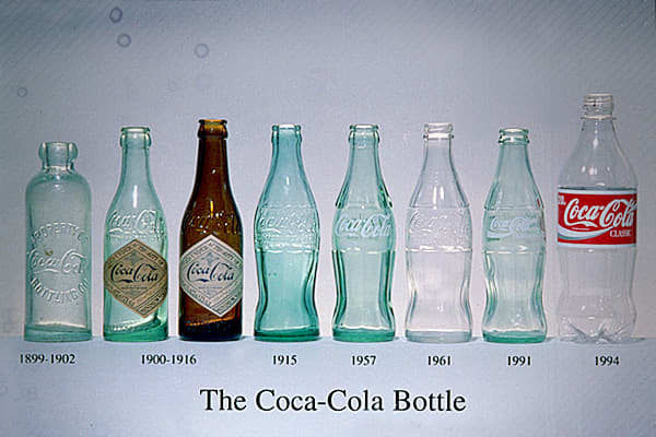 In 1886 Coca-Cola was a soda foundation beverage which cost five cents per glass. Next, the beverage became available in bottles. 1899 - The Hutchinson bottle was the style that was used briefly by Coca-Cola bottlers of Coca-Cola.