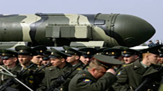 Russian Topol-M intercontinental ballistic missile is displayed during a Victory Day parade rehearsal on April 24, 2009 in Alabino, outside Moscow, Russia.