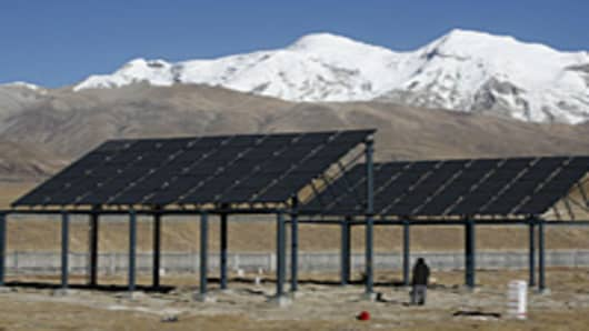 Solar panels built along the Qinghai-Tibet railway in Damxung County of Tibet Autonomous Region, China.