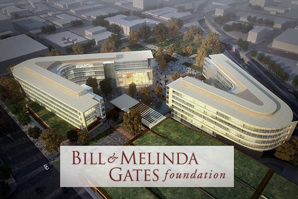 In 2000, after Gates stepped down as CEO of Microsoft he formed The Bill and Melinda Gates Foundation which supports health and education projects throughout the world.  Bill and his wife Melinda's initial goal was to provide poor countries the same health care that is available in the United States.  The foundation supports grantees in the U.S. as well as more than 100 countries worldwide.  They built a headquarters in Seattle, Washington and later established offices in Washington, DC, India,