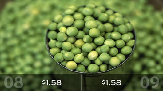 2009 Cost: $1.58Heap on the peas! There's no change in the estimated cost of this veggie from 2008. One pound will cost about $1.58, according to the AFBF.