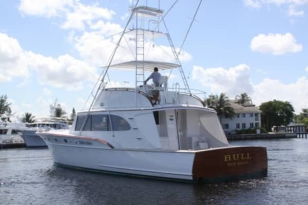 """Madoff must have loved fishing. His 1969 Rybovich—called """"Bull""""—was designed for serious sports fishing. The 55-foot yacht has a fighting chair to help pull up large fish. It sold for $700,000, the highest bid for Madoff's three boats."""