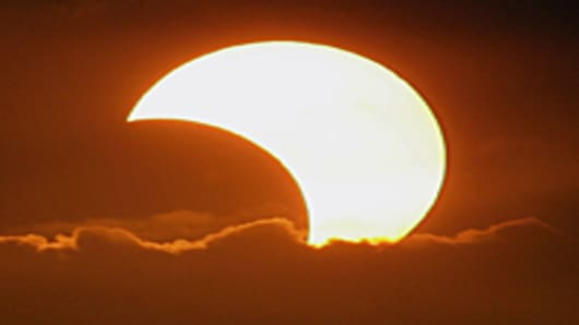 Partial solar eclipse, Manila, Philippines