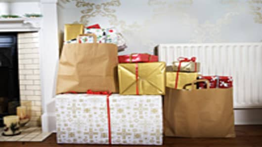 Presents in shopping bags in living room