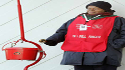 Salvation Army bell ringer, Delores Wright