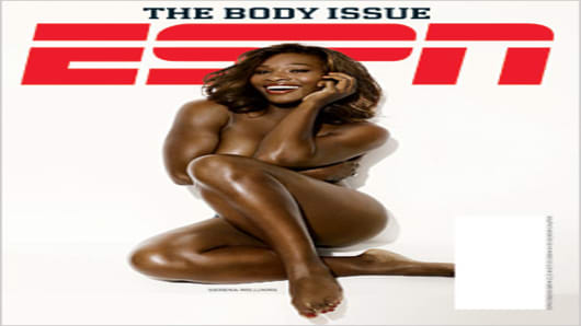 Serena Williams on the cover of ESPN The Magazine, The Body Issue.