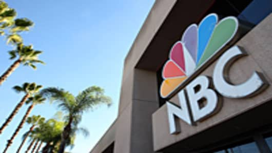 An NBC sign stands at the NBC studios in Burbank, California.