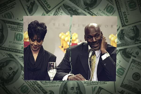 Basketball legend Michael Jordan and his wife Juanita split up in 2006 after 17 years of marriage, and one year later came to a divorce settlement of $168 million. The couple considered divorce in January 2002, but reconciled their differences shortly thereafter. At the time, Jordan had been quoted as saying that he was willing to pay a premium expedite the breakup proceedings.